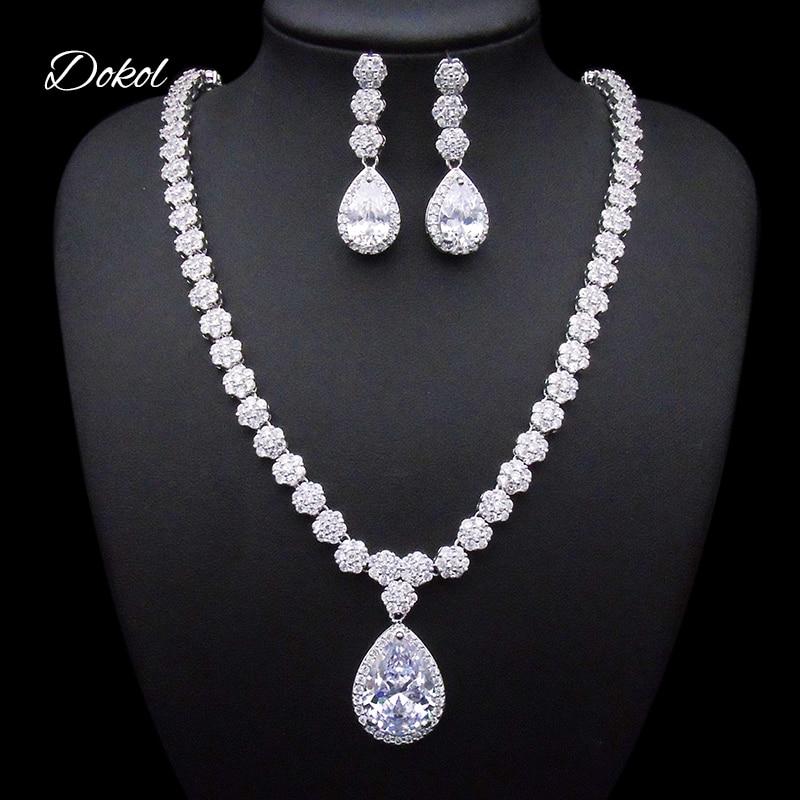 DOKOL Round & Pear Cut Zircon Bridal Jewelry Sets Big AAA+ CZ Stone Elegant Wedding Necklace Earrings Sets for Women DKS0059