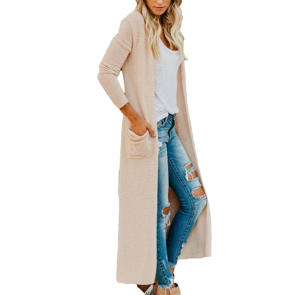 Women Pocketed Long Sleeve Solid Color Knitwear Duster Cardigan Coat