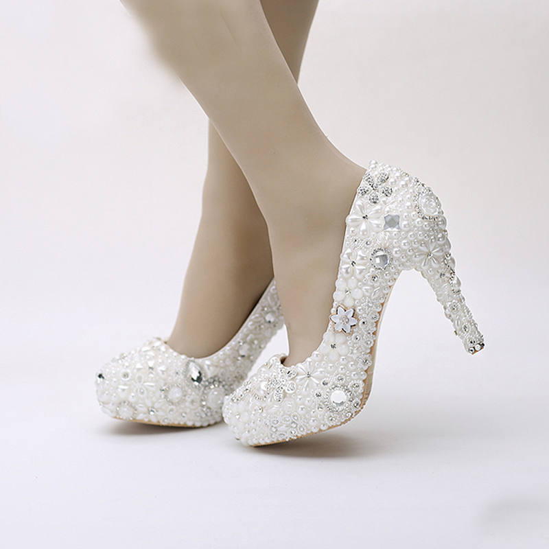 Snow White Elegant Pearl Wedding Shoes Party Prom Platform High Heels Event Pumps Women Shoes Rhinestone Crystal Dress Shoes pure white pearl wedding dress shoes gorgeous red rhinestone heart shape women pumps 3 inches high heel bride shoes event pumps