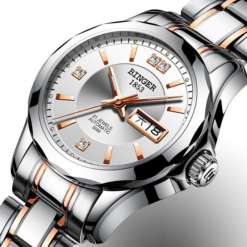 New Binger Watch Women Luxury Brand Japan Automatic Mechanical Movement Wrist Sapphire Waterproof Ladies Watch gold 8051-7