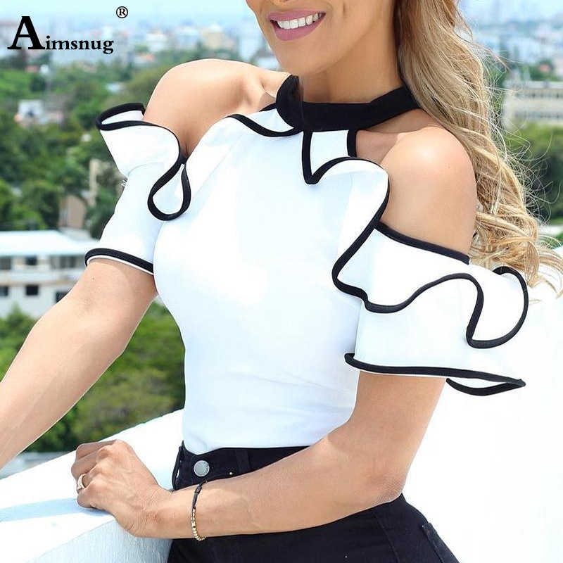 2019 Summer Women Elegant Leisure Casual Top Ladies Sleeveless Stand Collar Shirt Contrast Binding Ruffles Trim White Blouse