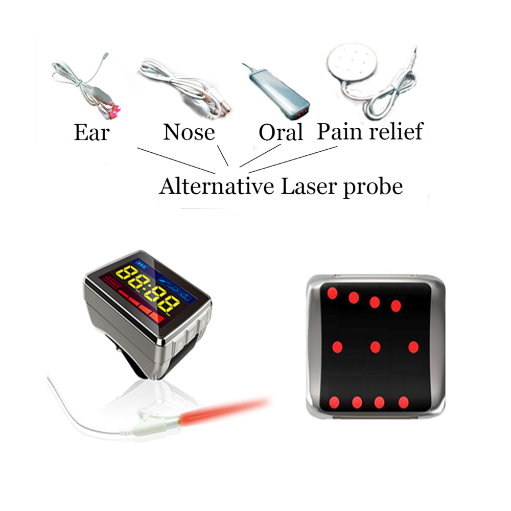 COZING LLLT Laser Watch Therapy Snoring Sore Throat Treatment Tinnitus Blood Pressure Blood Pressure with 4 Probes lllt cold laser therapy high blood pressure wrist watch for reducing high blood pressure