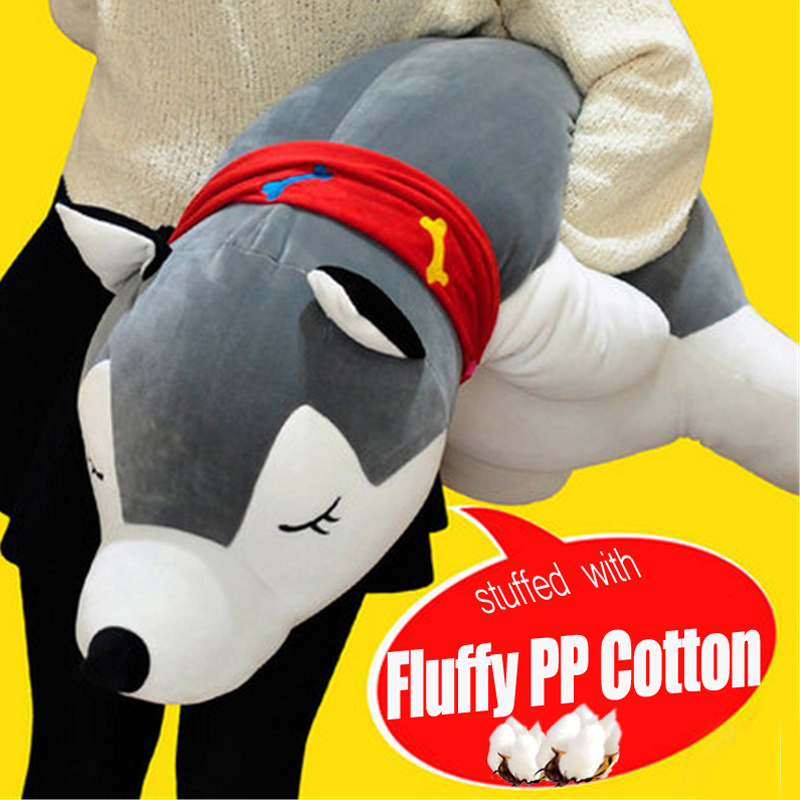 Fancytrader Big Soft Stuffed Husky Toys Giant 130cm Stuffed Animals Puppy Dogs  Pillow Doll Nice Gifts for Children цена и фото