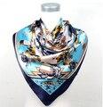 Женщины в атлас квадрат шелк шарф печать для дамы марка полиэстер Scarve большие лето шарф 90 * 90 см