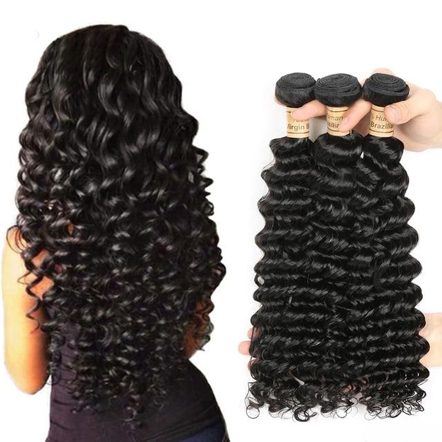 Wet And Wavy Hair Weave Peruvian Deep Wave Natural Color 100 Human