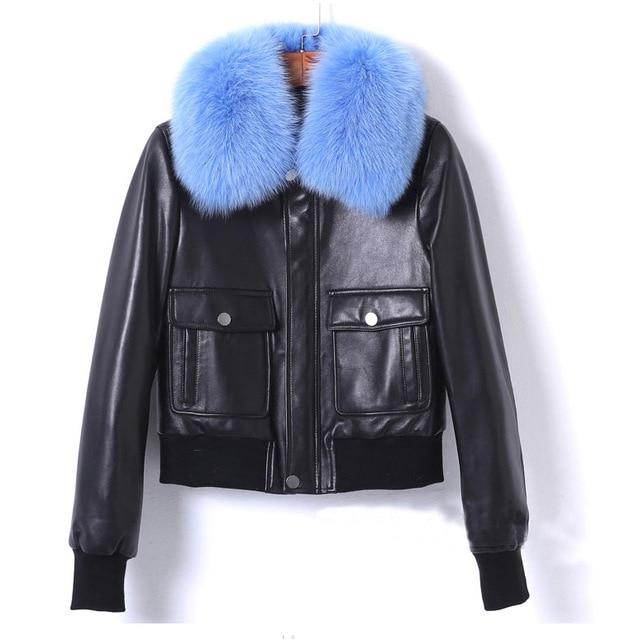 New 2018 mùa đông con cáo cổ áo lông thú Áo Khoác Phụ Nữ genine da áo khoác Chic da cừu túi da áo khoác áo khoác D943