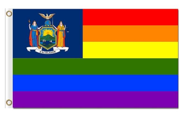 America city New York Rainbow Flag 3x5ft with metal eyelets image