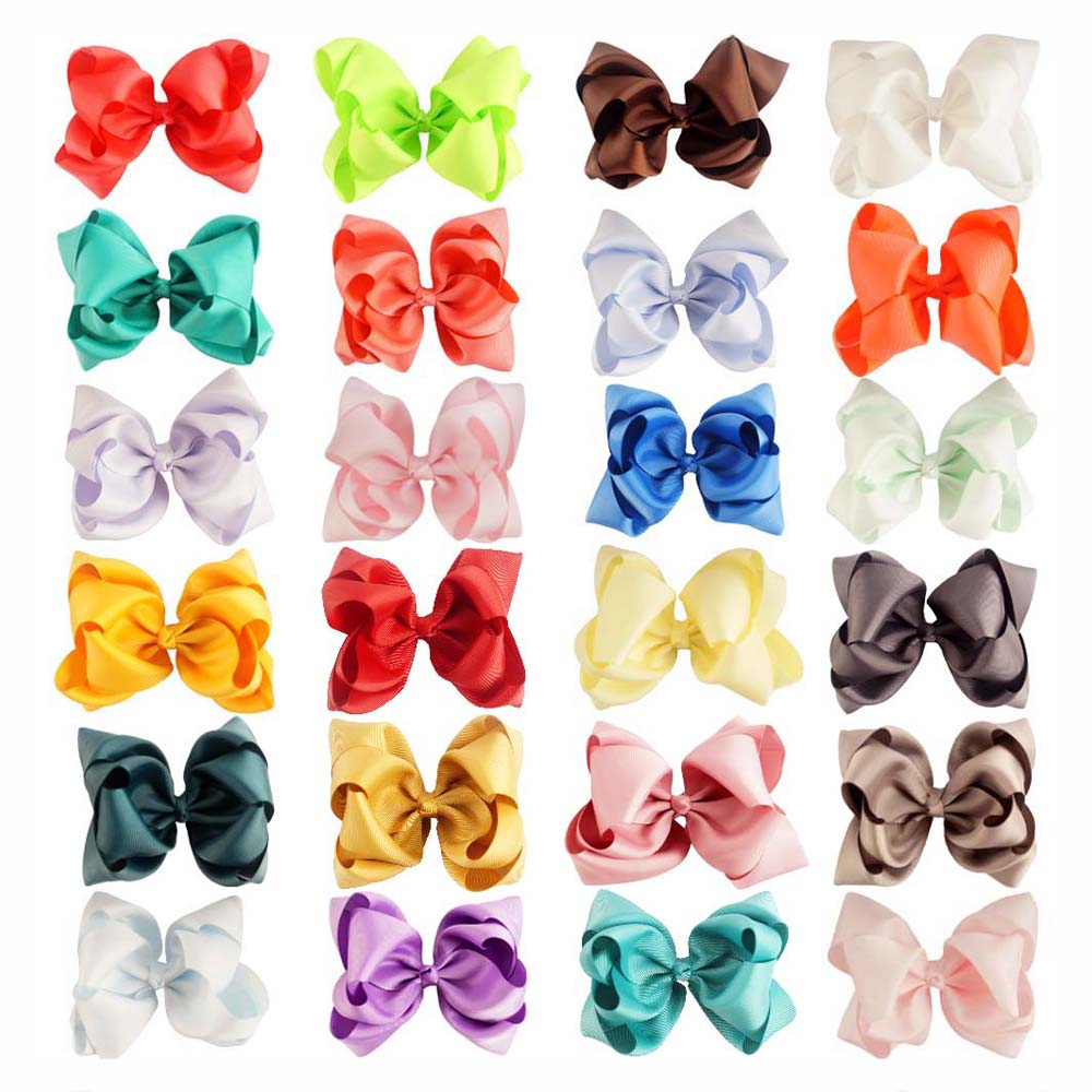 "IBOWS Hair Accessories Hairbows For Girls Double Layers Knotted Hair Clips 24 Pcs/lot 5"" With Alligator Clips Headwear"
