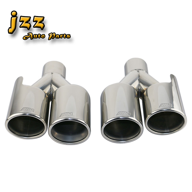 JZZ 1pcs Engraved ///M Car <font><b>Exhaust</b></font> <font><b>Tip</b></font> <font><b>57mm</b></font> Inlet Chrome Silver Stainless Steel 201 Double outlet Tail pipe Free Shipping image