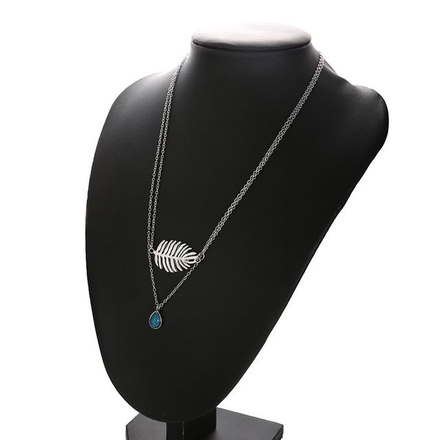 Bohemian Leaf Turquoise Beaded Necklace