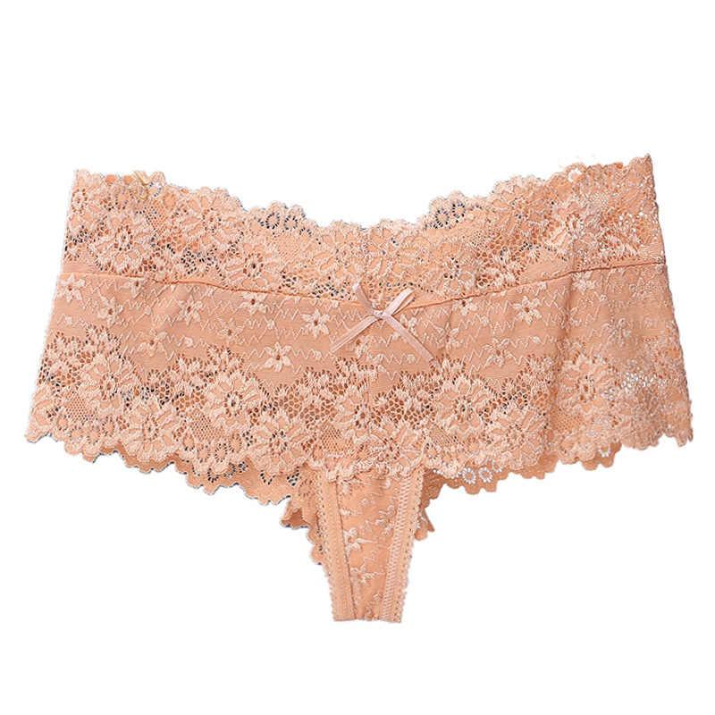 GUMPRUN estilo Sexy bragas de encaje tentador cintura baja Braga floral transpirable bragas mujeres Jacquard calzoncillos sin costura acogedor Boyshort