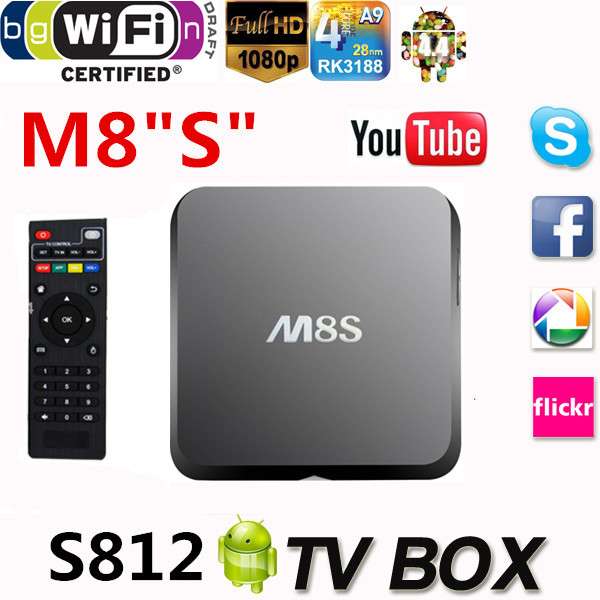 New M8 Android Smart TV Box M8S Amlogic S812 Chip AP6330 4K 2G/8G XBMC Dual band wifi Full HD Android 4.4 Media Player m8 fully loaded xbmc amlogic s802 android tv box quad core 2g 8g mali450 4k 2 4g 5g dual wifi pre installed apk add ons
