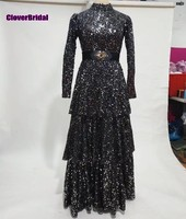 Bling bling sequined fabric 3 layers skirt full sleeves high neck black evening dress with removable wide waistband sash