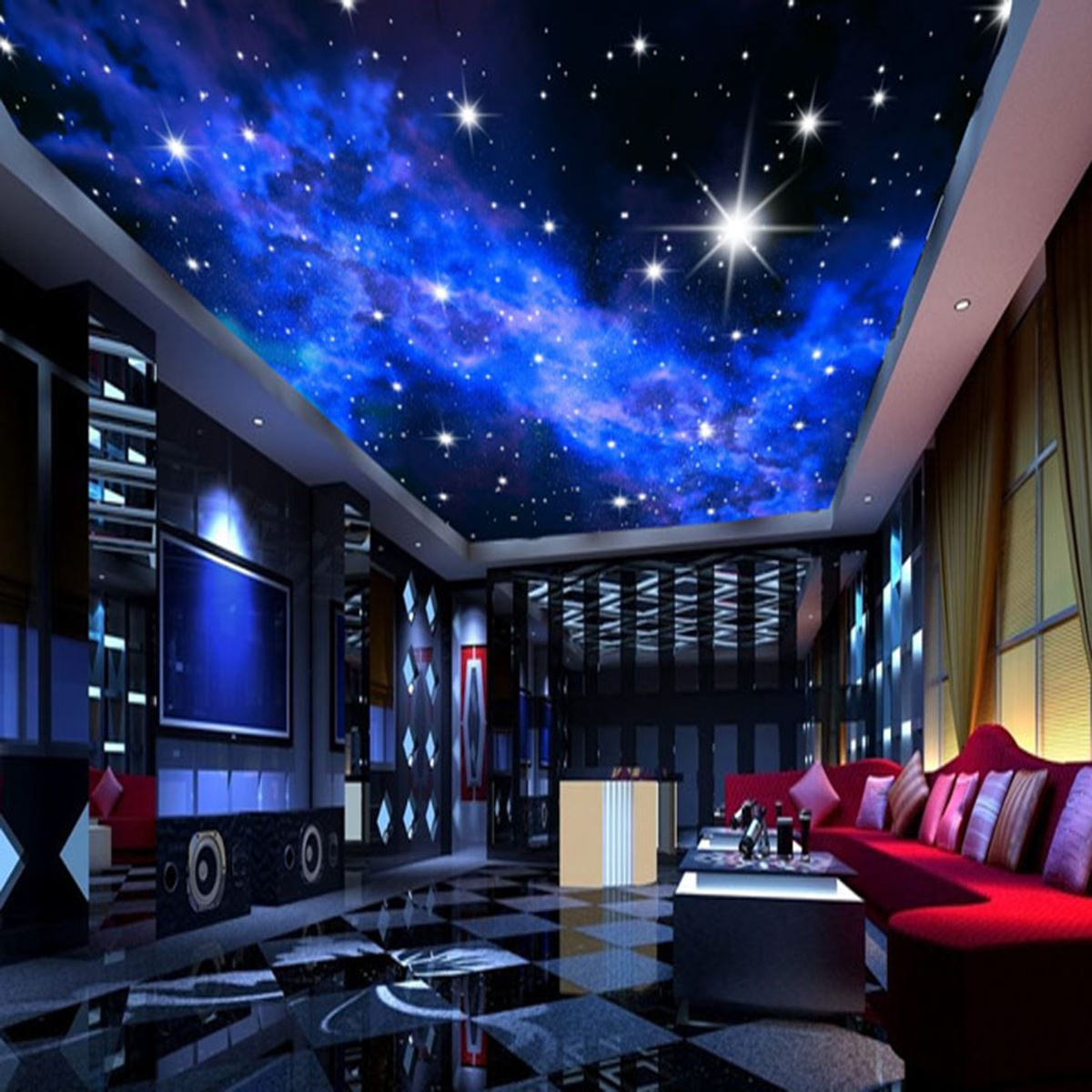 Bedroom ceiling lights stars - 3d Wallpaper Custom Mural Star Night Cloudssky Wall Paper Background Interior Ceiling For Home Bedroom Living