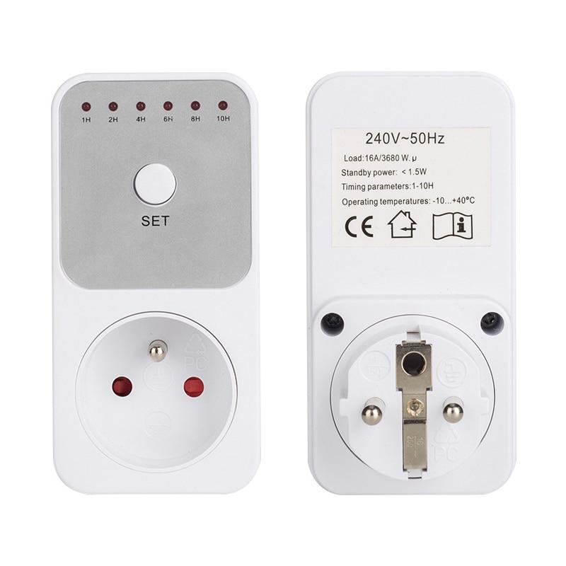 EU FR BR UK Plug Electricity Power Metering Socket 10Hr Timer Socket Countdown Intelligent Time Setting Swtich Timer Control Soc Timers     - title=