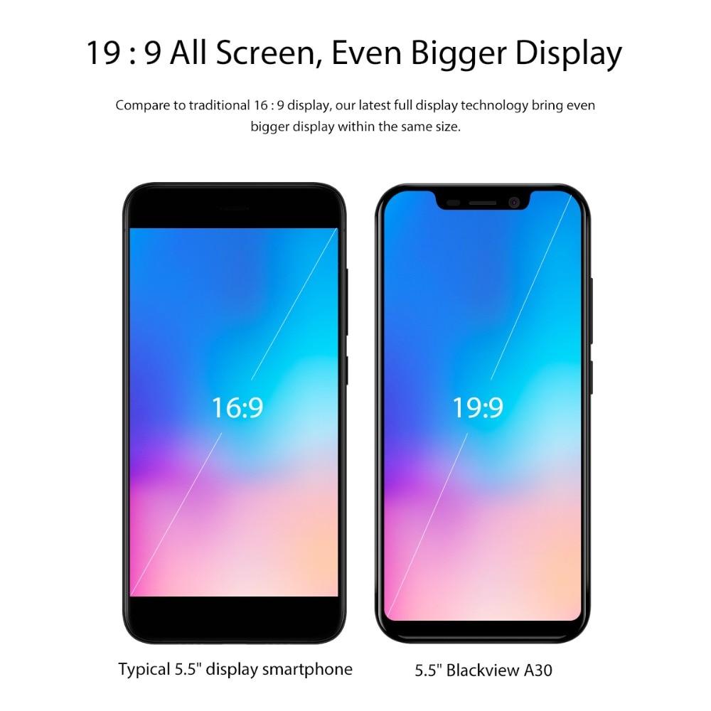 Blackview A30 5.5 pouces 19:9 Smartphone plein écran MTK6580A Quad Core 3G téléphone portable avec identification faciale 2GB + 16GB Android 8.1 double SIM - 2
