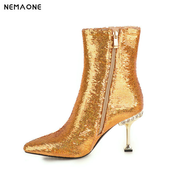 NEMAONE New sequined cloth women high heels ankle boots shiny bling winter warm dancing shoes woman party dress ladies shoesNEMAONE New sequined cloth women high heels ankle boots shiny bling winter warm dancing shoes woman party dress ladies shoes