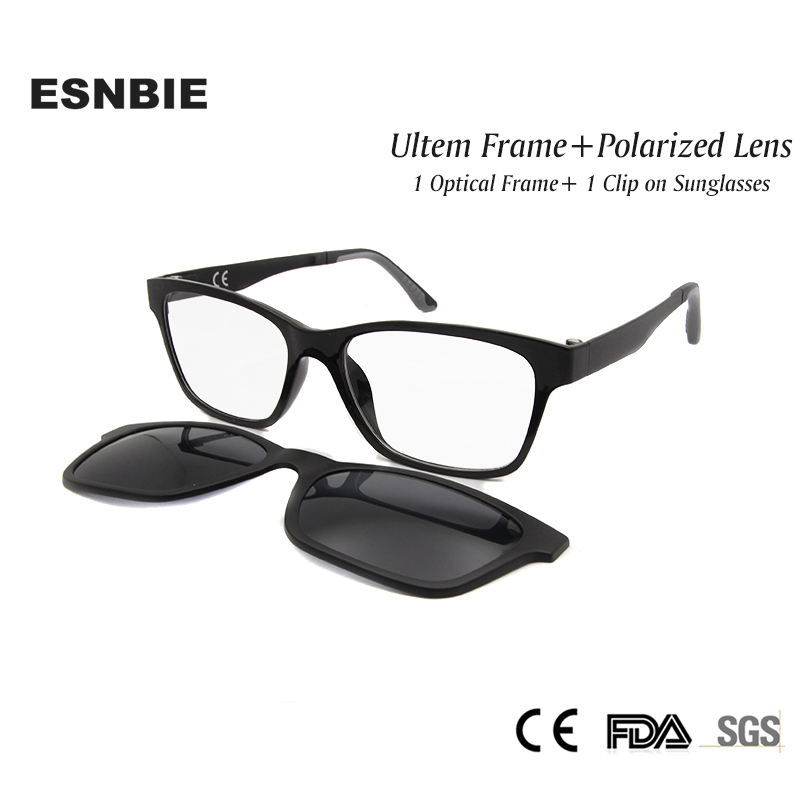 ESNBIE New Memory Ultem Nerd Glasses Frame with Magnetic Clip on Polarized Sun Glasses Lens Women Men Myopia Eyewear