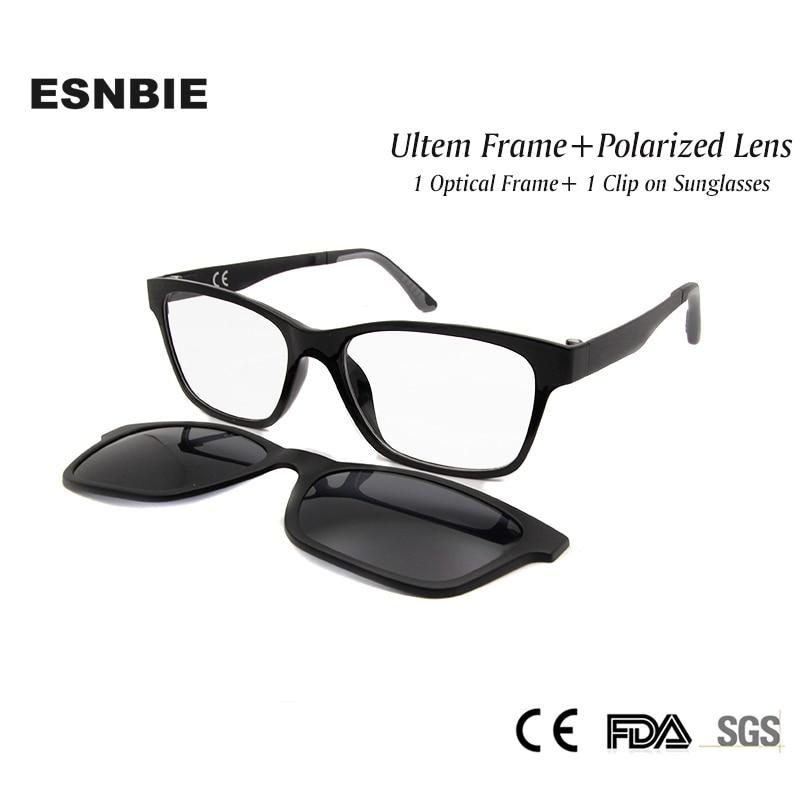 1a35716bf34 ESNBIE New Memory Ultem Nerd Glasses Frame with Magnetic Clip on Polarized  Sun Glasses Lens Women Men Myopia Eyewear