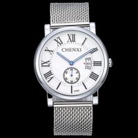 CHENXI Silver Business Watch Men Roman Numerals Stop Watch Calendar Casual Fashion Male Clock Quartz Waterproof