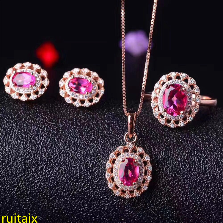 KJJEAXCMY boutique jewels 925 sterling silver with natural pink topaz jewelry 3 pieces pendant + necklace + earrings + ring.asdfKJJEAXCMY boutique jewels 925 sterling silver with natural pink topaz jewelry 3 pieces pendant + necklace + earrings + ring.asdf