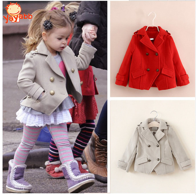 High Quality 3-8Y Fashion Jackets For Girls Cotton Woolen Kids Jacket Autumn/Spring Princess Girls Coats 2016 Girls Outerwear