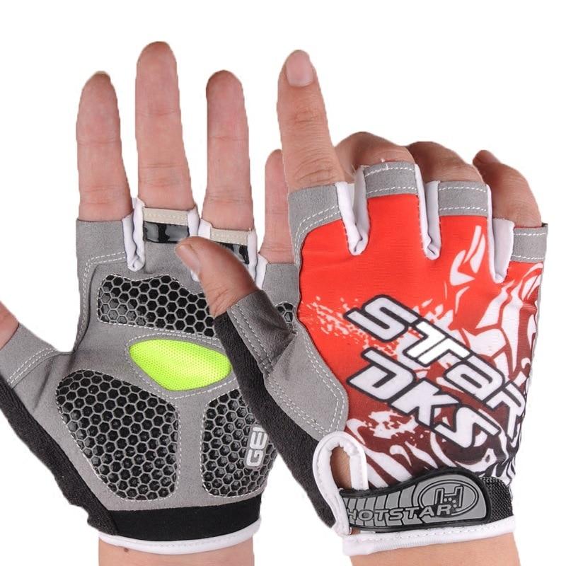 Летние ледяные шелковые наполовину перчатки для рыбалки мужские спортивные износостойкие дышащие велосипедные перчатки рыболовные принадлежности PESCA - Цвет: Красный