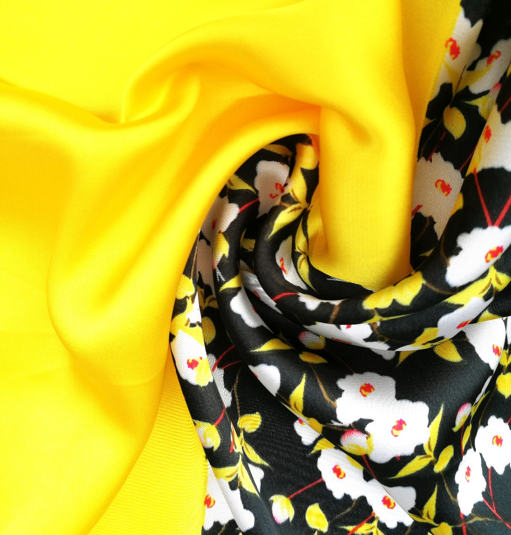 0b24603ad997b Satin Silk Scarf Yellow Floral Bandana Small Square Scarves Bag Hat Summer  Neck Head Scarf Headband Hairband 55*55cm-in Women's Scarves from Apparel  ...