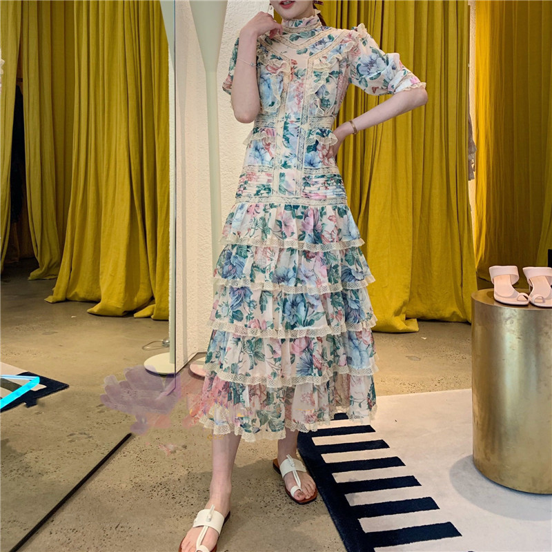 2019 New Summer Dress Short Sleeve Lace Cake Dress Stand Collar Puff Sleeve Long Dress Women