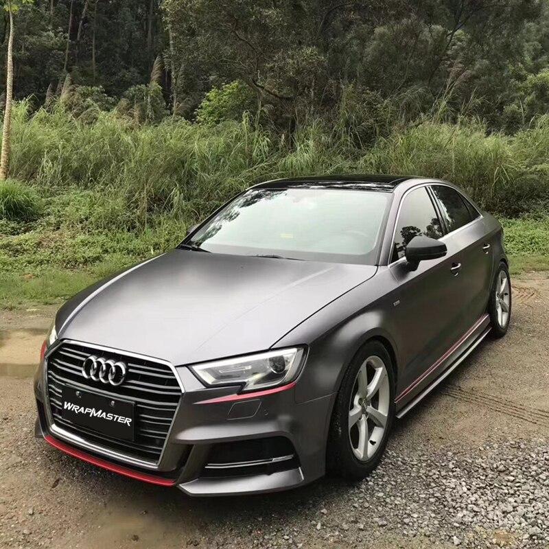 Película metálica Electro-óptica de alta calidad, calcomanías de vinilo para vehículos, revestimiento para coche completo con burbuja de aire 1.52x1 8 m/rollo de carbón gris