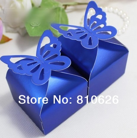 Free Shipping 50 Pcs Navy Blue Erfly Wedding Candy Bo Favor Box Gift