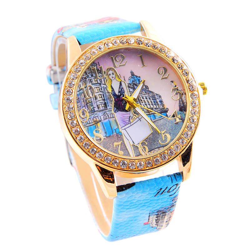 women watchesgentleman lady hot sale clock London Style Fashion Girl Colored PU Leather Watch relogio Reloj clock P*21