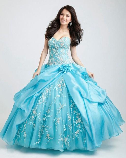 2017 Chegam Novas Princesa Do Vintage Delicado Plissado Light Blue Quinceanera Vestido de Verão de Luxo Apliques Vestido vestido de Baile Plus Size