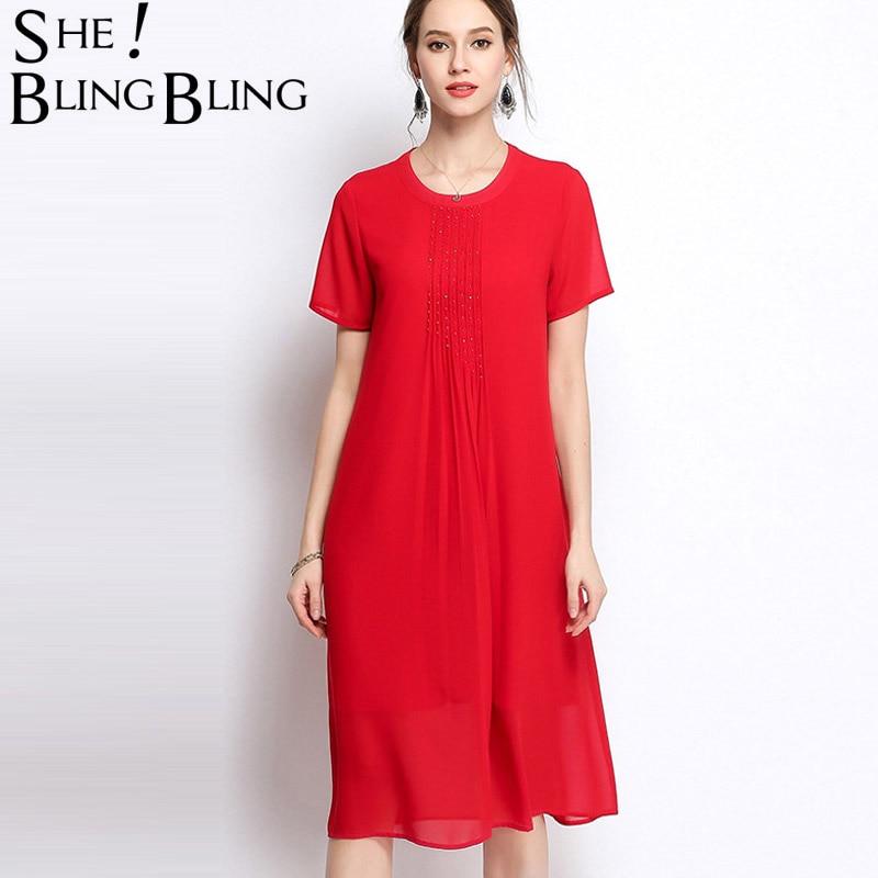 SheBlingBling Plus Size Casual Short Sleeve A-Line Female Cloth Summer Womens Red Black Chiffon Elegant Handmade Beads Dresses