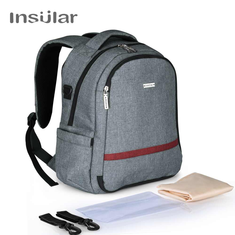 Insular Brand Multifuntion Solid Color Nylon Baby Diaper Backpack Mommy Bag Baby Waterproof Changing Backpack new arrival shipping free baby diaper bag waterproof 600d nylon mommy bag changing bag women tote bag