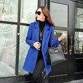 Женщины пальто зима осень шерстяное пальто средней длины одной кнопки пальто свободного покроя верхняя одежда высокого качества топы 4 цвет