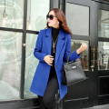 Women Coat Winter Autumn Wool Coat Medium Length Single Button Coat Female Overcoat Casual Outerwear High-quality Tops 4 Color