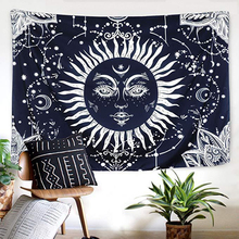 Psychedelic Black Sun God Apollo Boho Style Astrology Tapestry Ouija Magic Witchcraft Mysterious Psychic Divination Wandkleed