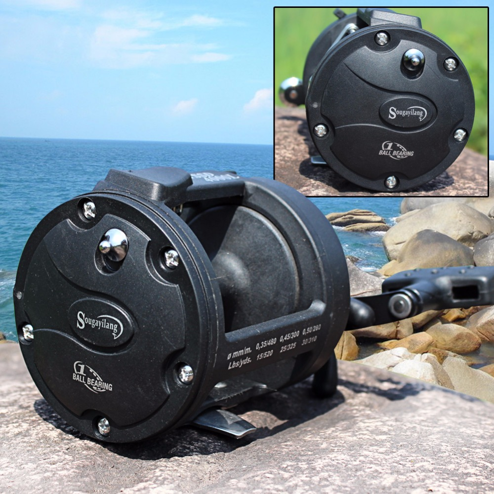 Sougayilang Drum Trolling Fishing Reels 3.8:1 High Speed TSSD3000L/4000L Baitcasting Fishing Coil Reel Wheel Fishing Reel Tackle metal round jigging reel 6 1 bearing saltwater trolling drum reels right hand fishing sea coil baitcasting reel