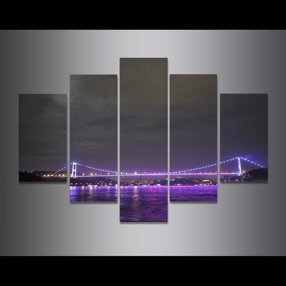 Unframed Canvas Painting Bridge Night Scene Waterfront Light Picture Prints Wall Picture For Living Room Wall Art Decoration