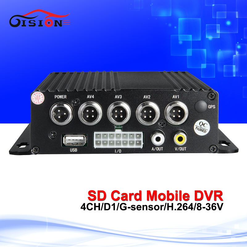 Free Shipping mobile dvr, 4CH Car DVR, Motion Detective,cycle recording,I/O,Vehicle DVR, support SD card up to 128G, GS-8104SD  free shipping 4 ch 4g gps vehicle car dvr kit h 264 g sensor mobile dvr pc phone real time view duty cctv camera for car truck