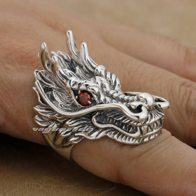 Huge & Heavy 925 Sterling Silver Red CZ Eyes Dragon Mens Biker Rock Punk Ring 9D010 US Size 8 to 15