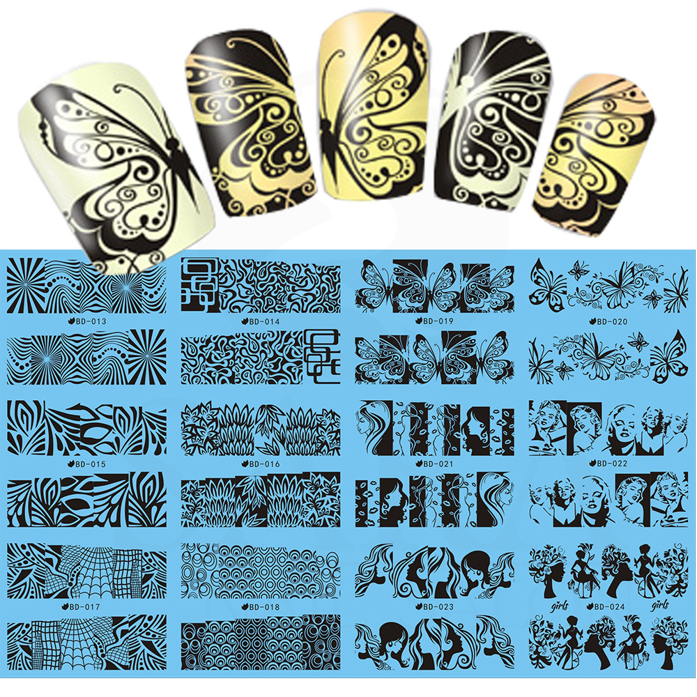 NEW 12Designs in 1 Geometry Nail Water Decals Flowers/Butterfly Design Print Transfer Stickers Nail Art Sticker SABD013-024 11sheet set bjc023 033 cat nail design gitter christmas nail sticker decals water sticker for water decals nail art stickers