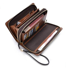 New HIGH QUALITY men wallets Luxury Large Capacity hollow out leather Double Zipper clutch card holder coin purse