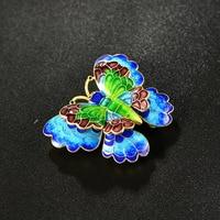 Cloisonne filigree Enamel Jewelry Sukhothai 925 silver Butterfly Brooch old Beijing traditional craft