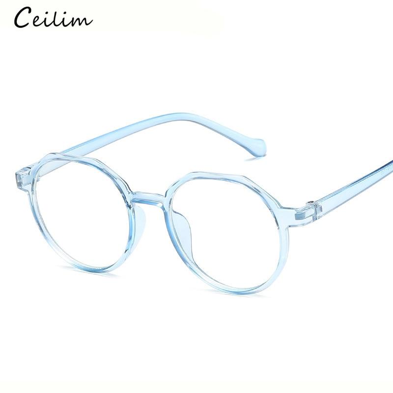 ff87562a6c8 Fashion Anti Blue Light Glasses Women Round Clear Lens Myopia Fake Glasses  Pink Optical Eyeglasses Frame Transparent Oculos