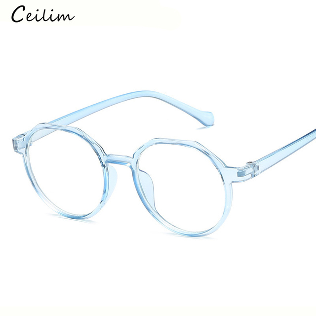 3badb409516 Fashion Anti Blue Light Glasses Women Round Clear Lens Myopia Fake Glasses  Pink Optical Eyeglasses Frame Transparent Oculos