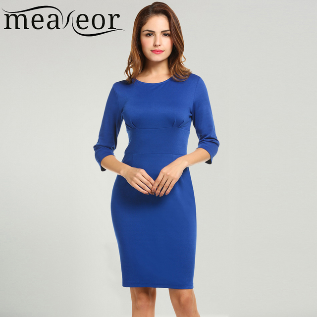 Meaneor Women Autumn Sexy Bodycon Pencil Dress 3 4 Sleeve Package Hip Solid  Business Simple Party Slim Casual Dresses Vestidos ee5f5eb93