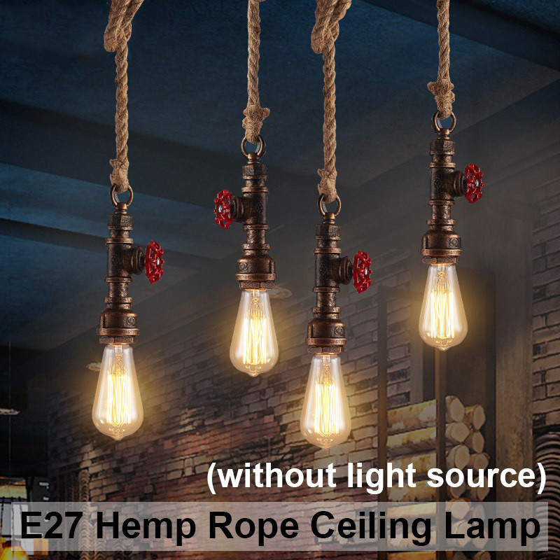 Smuxi E27 Loft Retro Industrial Vintage Water Pipe Pendant Lamp Hemp Rope Light For Bar Restaurant Dining Room