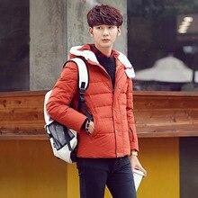 Men s Korean Slim hooded cashmere outwear Windbreaker Men High Quality parkas Windproof warm Jackets Down